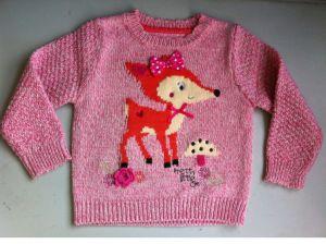 Baby Girls Intarsia Deer Jumper pictures & photos