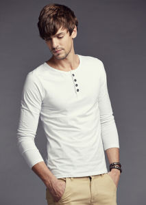 Fashion Clothes Plain Long Sleeve Men′s Button Collar T Shirt pictures & photos