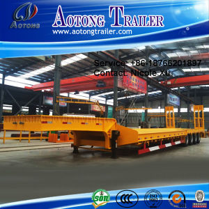 2-4 Axle 35-45t Low Flat Semi Trailer (concave beam pumping structure exposed tires) (LAT9350TDP) pictures & photos