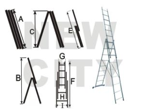 Aluminum Multifunction Ladder/3 Sections Aluminum Ladder (NC-107L 3X9)