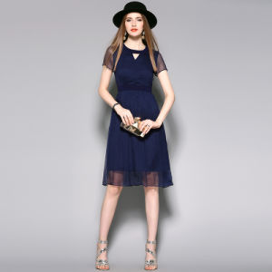 Summer Women Silk Pleated Dress with Front Triangle Hole pictures & photos