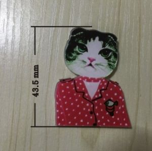Lovely Cat Wearing a Red with White Dots Clothes Brooch pictures & photos