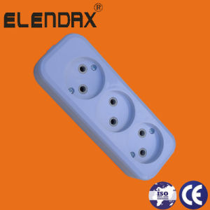 Wenzhou Socket 3 Way European Style 2 Pin Power Socket Outlet (E8003) pictures & photos