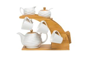 Ceramic Coffee Set W/ Bamboo Stand pictures & photos