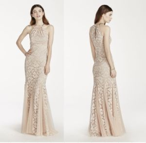 Wholesale Evening Dress Lace Flare Halter Dress with Godet Skirt pictures & photos