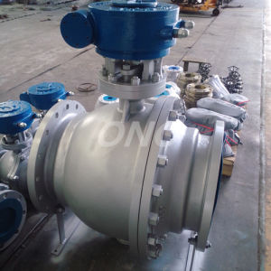 Geared Turnnion Flange Connection Cast Carbon Steel Wcb Ball Valve pictures & photos