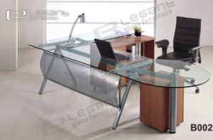 Office Desk with Safety Glass and MDF Drawer -B002
