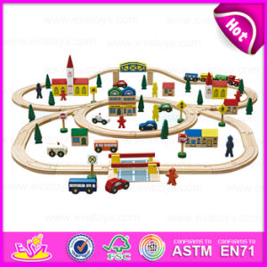2015 Funny Kids Toy Vehicle Toys Railway Train Set, DIY Cartoon Wooden Train Railway Set Toy, 100 PCS Wooden Toy Train Set W04D008 pictures & photos