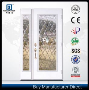 Fangda One and Half Decorative Glass Inserted Exterior Fiberglass Door pictures & photos