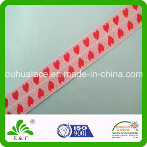 Customized Style Jacquard Elastic Band with Heart Pattern