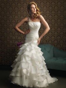 Cathedral Mermaid One Shoulder Organza Wedding Dress Gown (C5108)