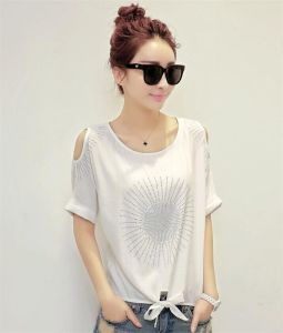 Hot Sale Diamond Studded Strapless Loose T-Shirt pictures & photos