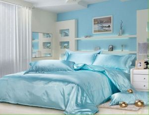Sky Blue Mulberry Silk Comforter Cover Sheets pictures & photos