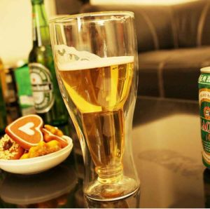 Beer Bottle Shaped Double Wall Glass