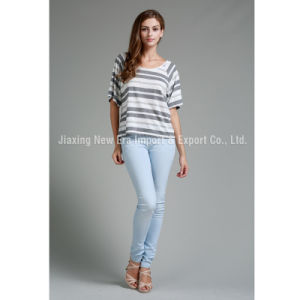 Women′s Ladies Round Neck Stripe T-Shirt