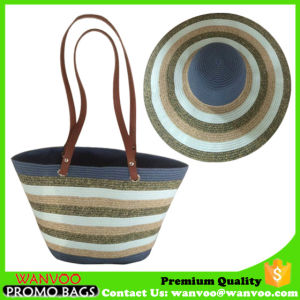 Straw Hat and Women Beach Tote Bag with PU Handle pictures & photos
