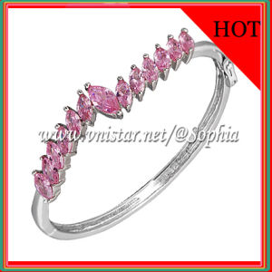Fashion Pink Cubic Zirconia Bangle