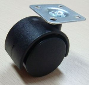 Nylon Caster With Plate, Twin Wheel Furniture Caster