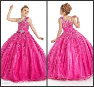 New Design Girls Pageant Prom Ball Gown Asymmetrical Sweep Train Applique Beaded Crystal Ruffle Organza Pageant Dresses for Girls N83 pictures & photos