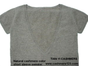 Cashmere Color Natural Sweater BV Short Sleeve pictures & photos
