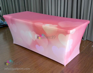 Customized No Wrinkle Stretchy Polyester Fabric Fitted Tablecover for Tradeshow pictures & photos