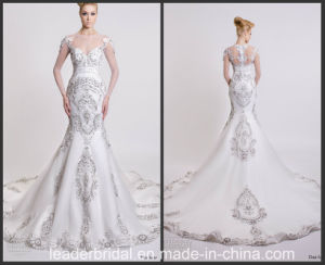 Illision Bodice Trumpet Bridal Gown Vestidos Silver Crystals Wedding Dress Dars2016 pictures & photos