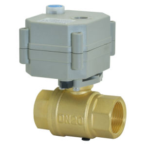 OEM DC3V/12V/24V Motorized Brass Ball Valve with Manual Operation (T20-B2-B) pictures & photos