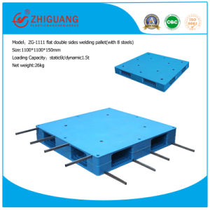 Warehouse Products 1100*1100*150mm Heavy Duty HDPE Plastic Pallet Flat Double Sides 1.5t Rack Load Plastic Pallet with 8 Steel Tubes pictures & photos