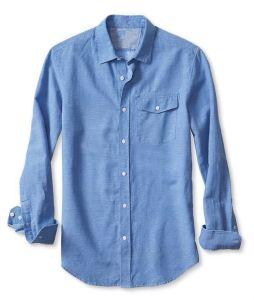 Slim-Fit Blue Chain Linen Cotton Shirt pictures & photos