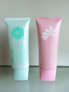 Oval PE Tube with Flower Silkscreen and Rectangle Cover for Body Lotion pictures & photos