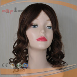 Human Hair Brown Color Full Lace Base PU Border Hairpiece pictures & photos