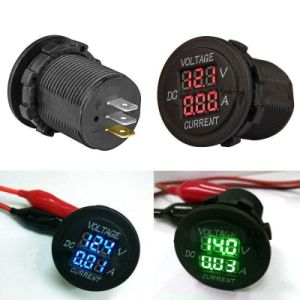 2in1 Car Motorcycle LED Digital Voltmeter Ammeter Voltage Meter DC 12V-24V Round pictures & photos