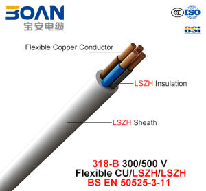 318-B, Electric Wire, 300/500 V, Flexible Cu/Lszh/Lszh (BS EN 50525-3-11) pictures & photos