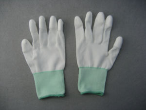 13G Nylon Liner White PU 3/4 Coated Glove (5532) pictures & photos