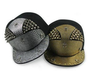 Snakeskin Armor Golden Rivets Flat Brimmed Hat pictures & photos