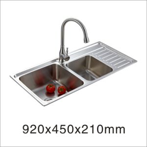 2015 Hot Kitchenware Stainless Steel One Stretched Double Bowl Sink (9245my) pictures & photos
