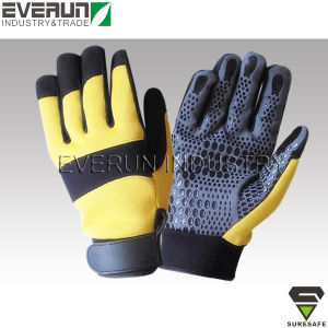 Silicone Printing Synthetic Leather Palm Gloves Anti Slip Gloves pictures & photos