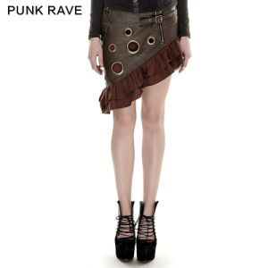 Q-283 Steampunk Symmetrical Handsome Flounce Coffee Sexy Mini Skirt for Girls pictures & photos
