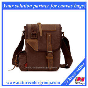 Stylish Canvas Real Leather Briefcase Crossbody Messenger Bag (MSB-003) pictures & photos