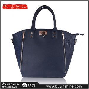 Navy Scaled PU Zipper Lady Shopper Hand Bag