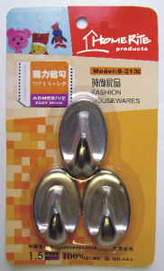 Plastic Adhesvie Hook (HK003C) Chrome for Household Products