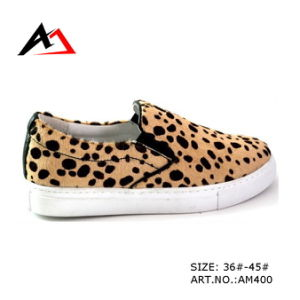 Leather Leopard Shoes Casual Footweare for Women (AKAM400) pictures & photos