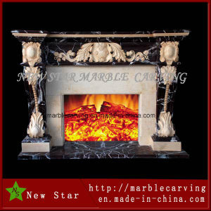Decoration Indoor Fireplace with Yellow and Dark Emperador Marble pictures & photos