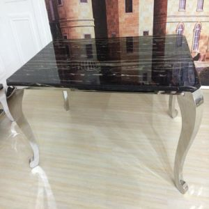 Elegant Marble Top Dining Table with Four Legs Silver Color pictures & photos