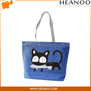 Most Popular Cat Cute Red Large Embroidered Fabric Tote Bags pictures & photos