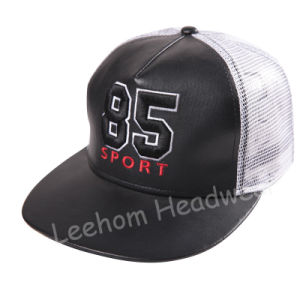 PU Leather Snapback Mesh Trucker Cap pictures & photos