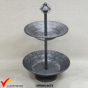 Luckywind 2 Plates Cake Stand Metal Tray pictures & photos
