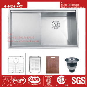 "33""X19"" Stainless Steel Top Mount Single Bowl Kitchen Sink with Drain Board pictures & photos"