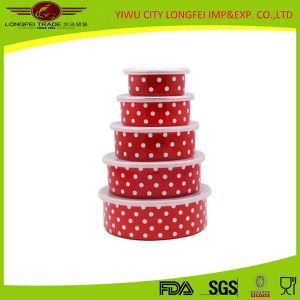 Red Volor 5PCS Enamel Salad Bowl Set with Plastic Lid pictures & photos