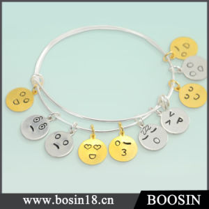 925 Sterling Silver Expandable Adjustable Emoji Wire Bangle Bracelet pictures & photos